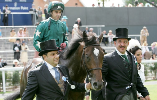 Imad (left) and Saleh lead in Araafa (Alan Munro) after winning the St James's Palace Stakes at Royal Ascot in 2006