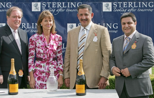 Imad (right) and Saleh at The Richmond Stakes award ceremony after Hamoody's win at Glorious Goodwood
