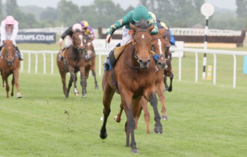 Nouriya (Ryan Moore) wins her first race, a maiden fillies' contest at Newbury in June 2010