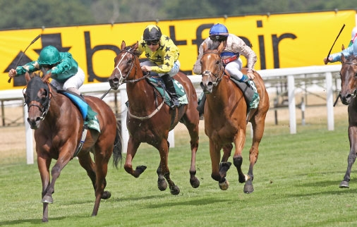 Princess Noor (Andrea Atzeni) is about to win the Princess Margaret Stakes at Ascot in July 2013