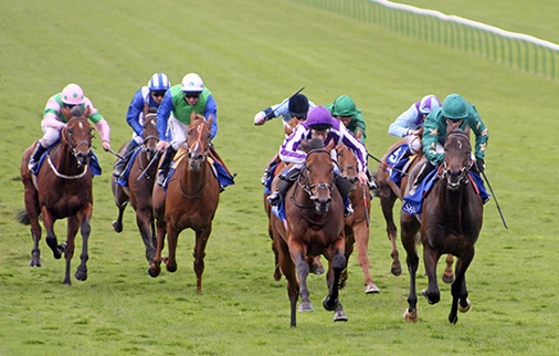 Sayif (right) finishes second to Bushranger in the Gr.1 Middle Park Stakes at Newmarket in 2008