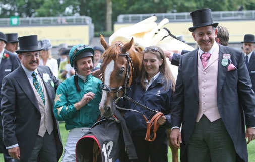 Tony Nerses joins Jimmy Fortune and Saleh Al Homaizi after Tariq's victory in the Jersey Stakes at Royal Ascot
