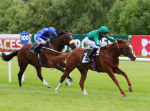 """Decorated Knight and George Baker winning from Portage (James Doyle) in the """"Icon Meld Stakes"""" GR3 at Leopardstown - Alain Barr - 14.07.2016"""
